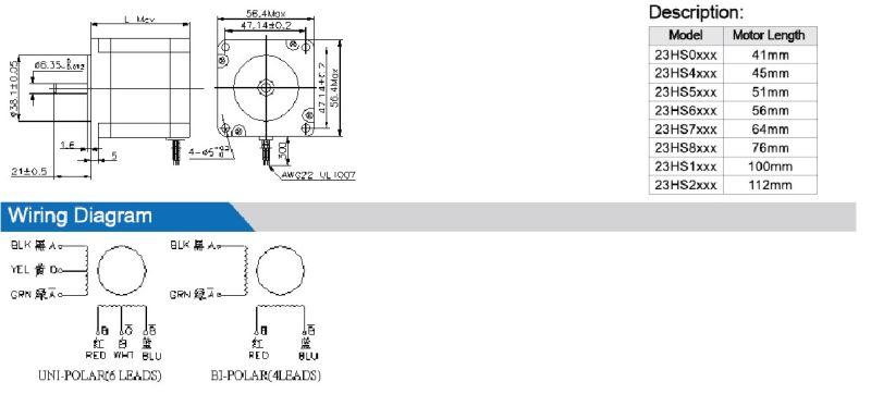 h u00edbrido nema23 high torque del motor de pasos  u2013 h u00edbrido