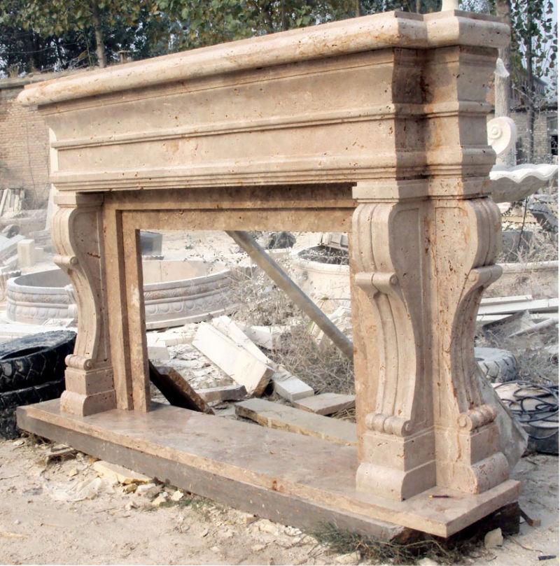 Camino di scultura di pietra del travertino, mensola del camino di ...
