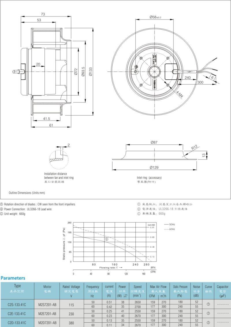 Low Noise Plastic Centrifugal Fan / Centrifugal Fan Fjc2e-133.41c