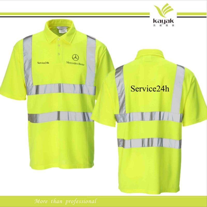 China custom hi vis transport pique polo shirts with for Custom hi vis shirts