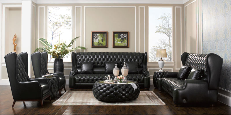 China Classic Antique Chesterfield Leather Sofa Set (A1) - China