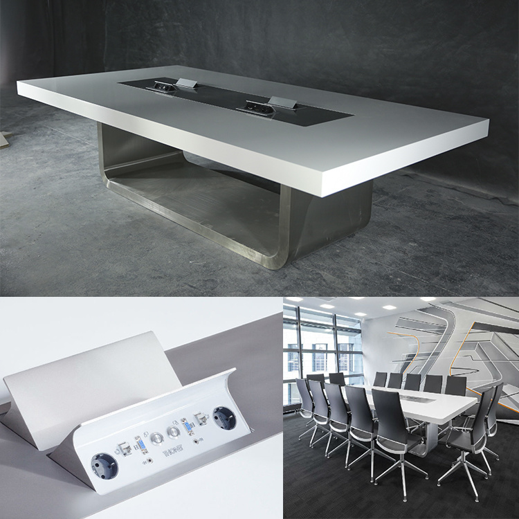 high quality modern high gloss white artifiical marble smart conference table