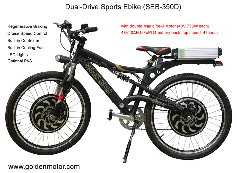 Dual-Drive 48V 1500W Electronic Bicycle /7 Speed Mountain Bike/Electric Transportation Vehicle (SEB-350D)