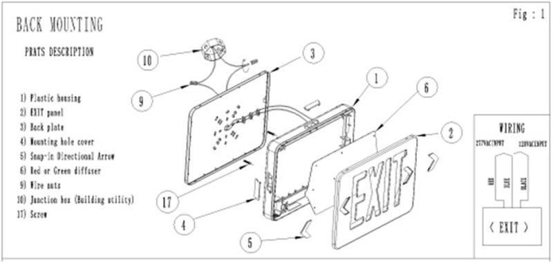 180mins Fire Retardant ABS UL LED Exit Sign