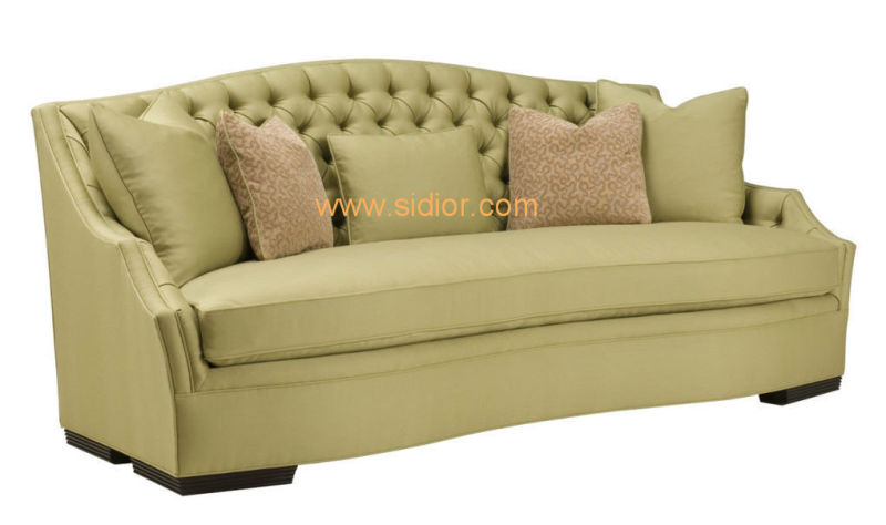 (CL-6618) Classic Hotel Restaurant Lobby Furniture Wooden Fabric Leather Sofa