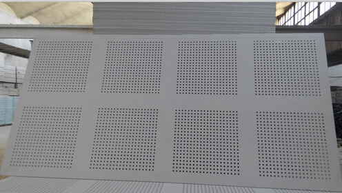 Perforated gypsum ceiling tiles