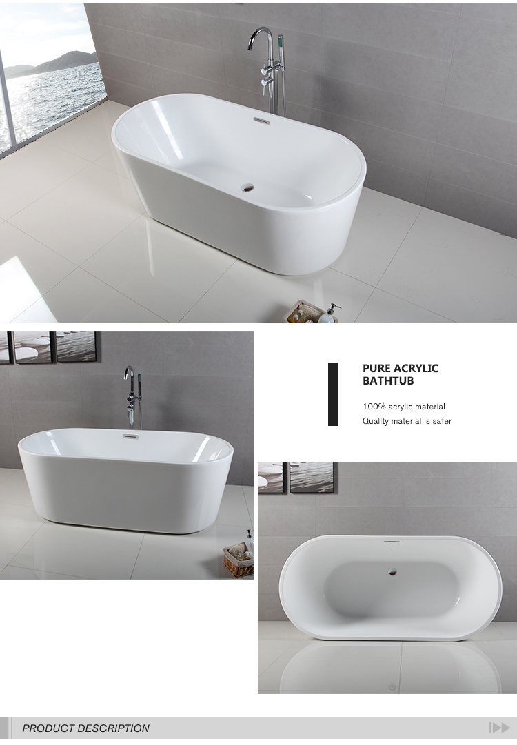 New Lugano Acrylic Bathtub 1500mm Ovale Free Standing Top Buy - Best ...
