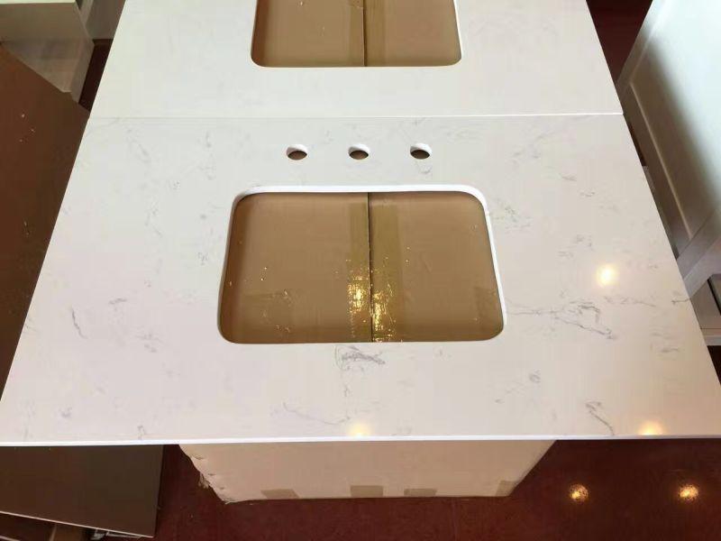 Pure White Artificial Crystal Quartz Stone Vanity Top For Washroom