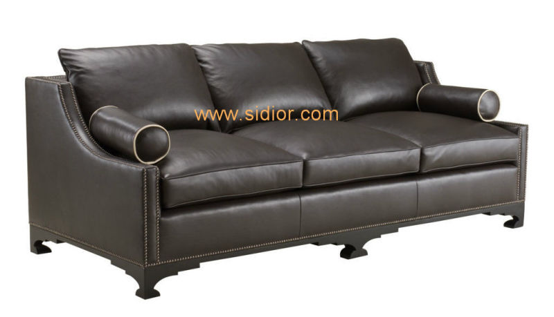 (CL-6619) Classic Hotel Restaurant Lobby Furniture Wooden Fabric Leather Sofa