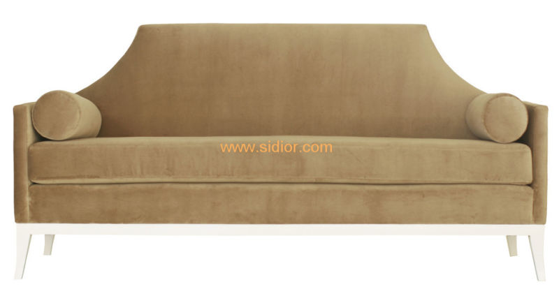 (CL-6603) Classic Hotel Restaurant Lobby Furniture Wooden Fabric Leather Sofa