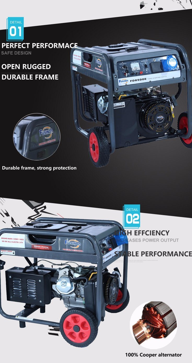 6kw Air Cooled Gasoline Generator/Generator/Generator Sets with Handle & Wheel Kit