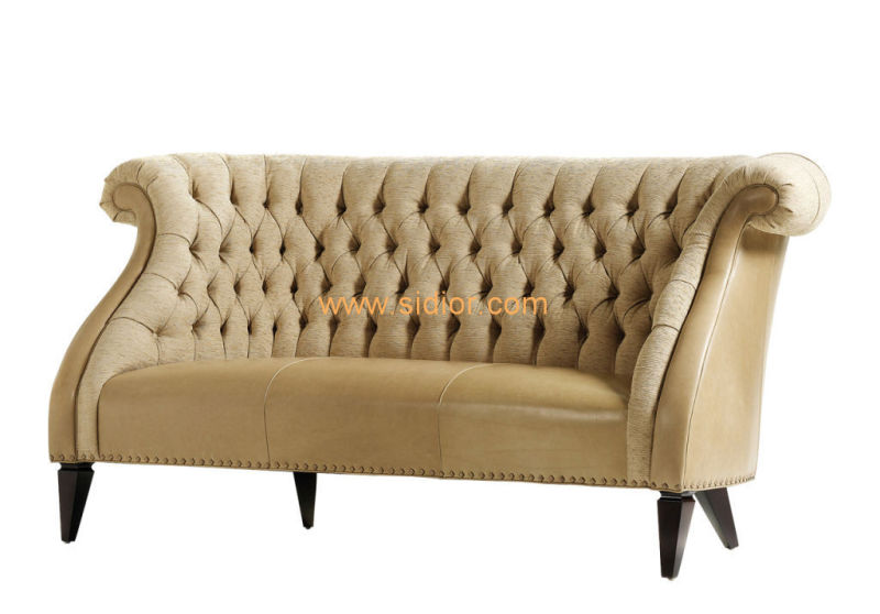 (CL-6604) Classic Hotel Restaurant Lobby Furniture Wooden Fabric Leather Sofa