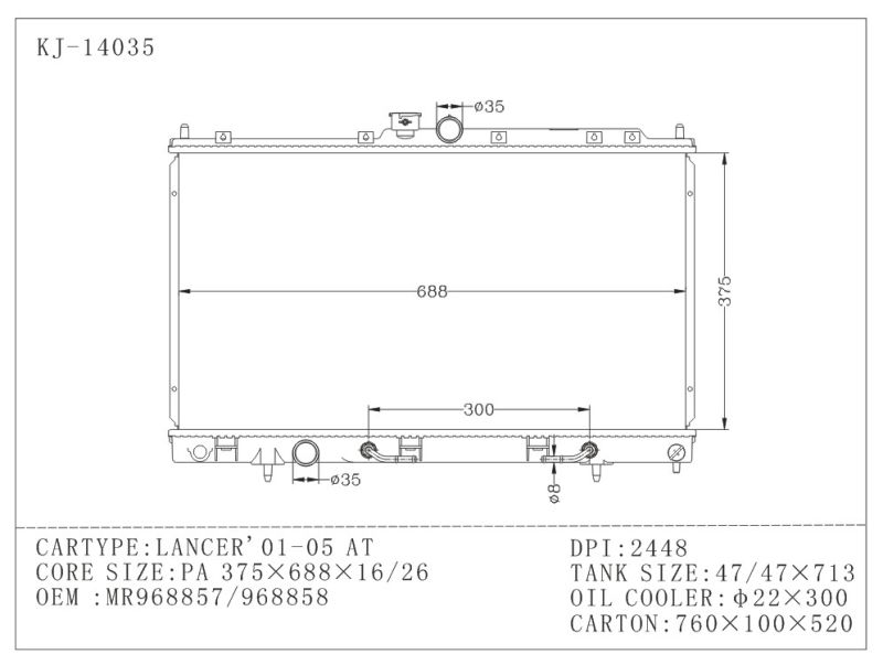 Cooling Effective Aluminum Aluminum Auto Parts for Lancer'01-05 4G15/4G93