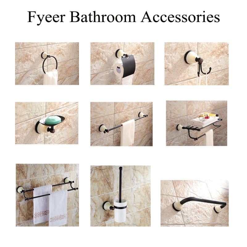 China fyeer ceramic base black bathroom accessory brass for Bathroom accessories hs code