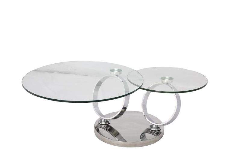China stainless steel folding coffee table with tempered - Folding glass coffee table ...