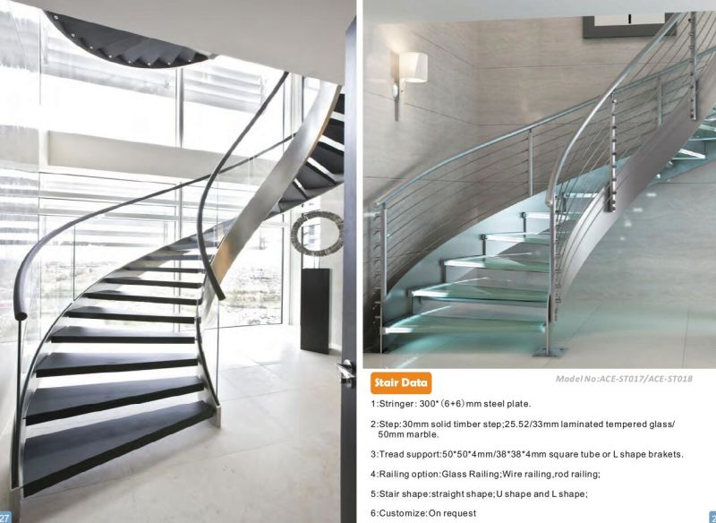 Ace Curved Staircase With Glass Stair Railing