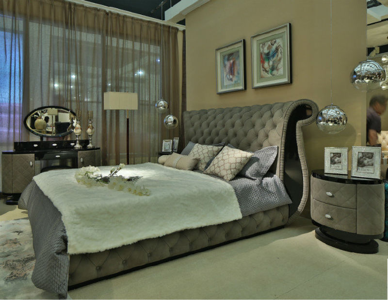 China New Arrival Bedroom Set Bedroom Furniture Grey Leather Bed B005 China Bedroom