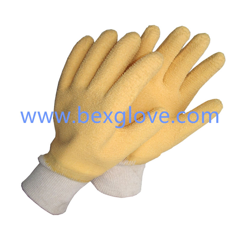 Cotton Jersey Liner, Cotton Knit Wrist, Latex Coating, Ripple Styled Crinkle Finish