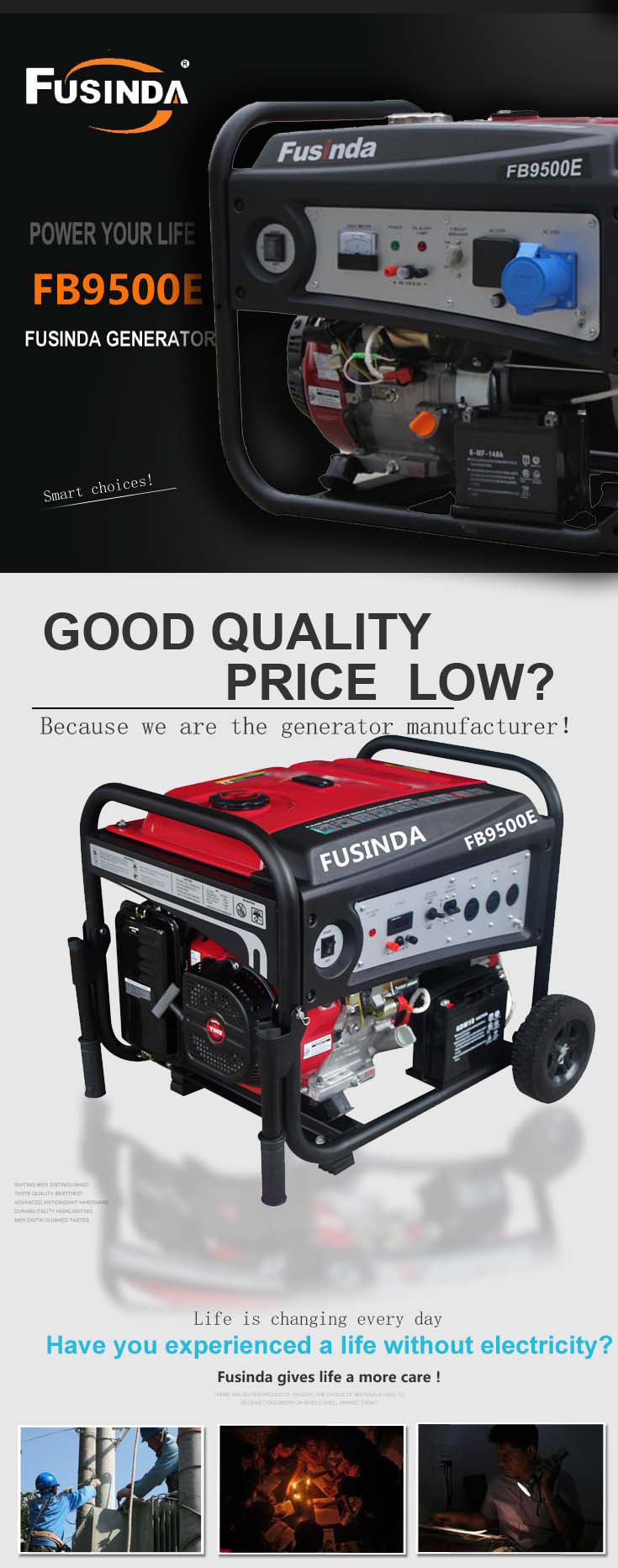 7000 Watts Portable Power Gasoline Generator with Saso, CE, Soncap Certificate (FB9500E)