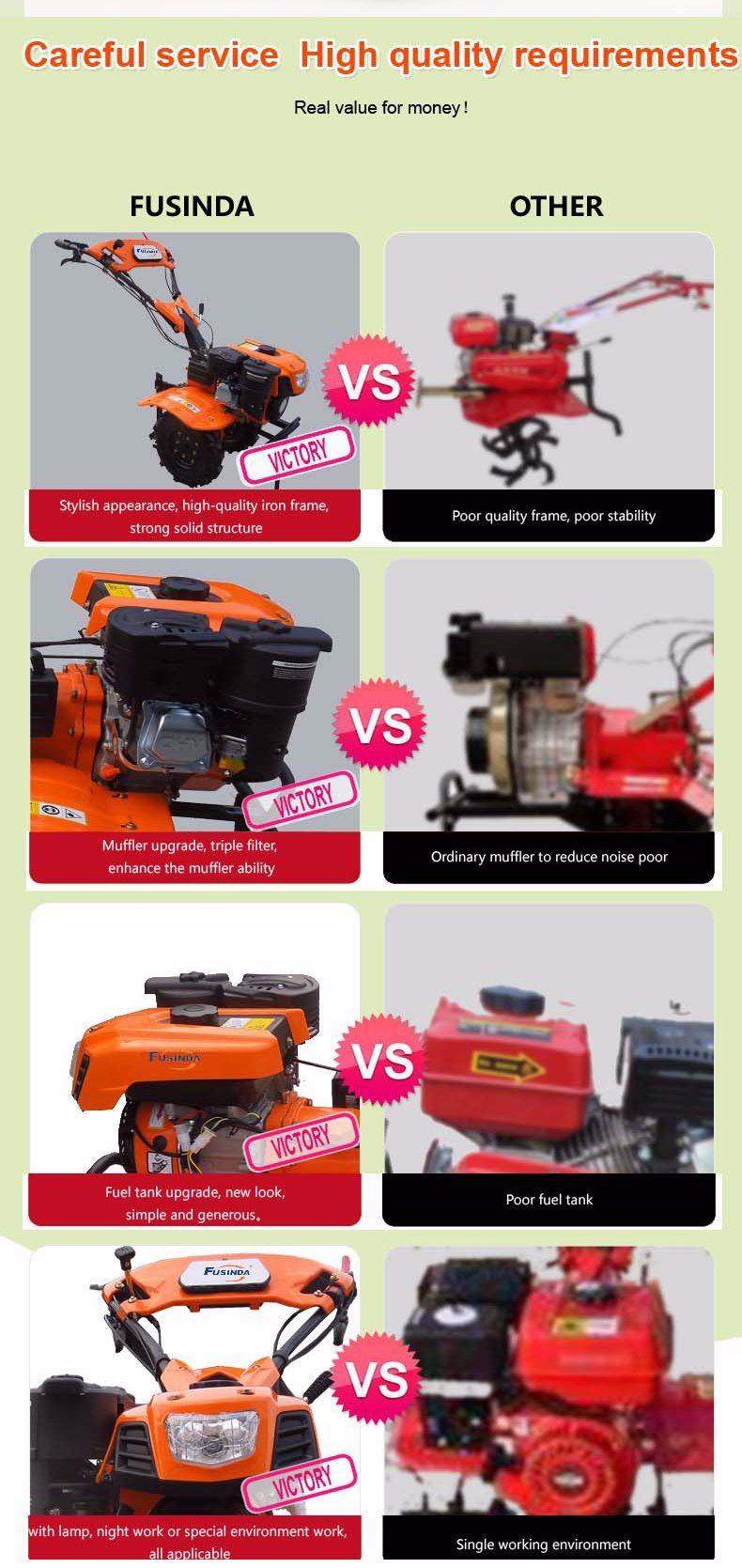 9HP 6.6kw Diesel Tiller, Power Tiller, Farm Rotary Tiller Diesel Engine Tiller