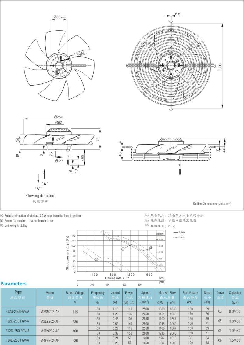 Best Sale External Rotor Fan Centrifugal Fan Impeller Fj2e-250. Fg