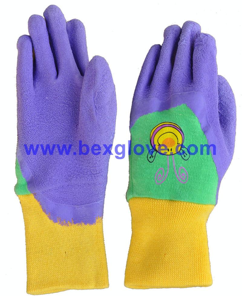 Kids Garden Style Glove, Color Interlock, Latex Coated