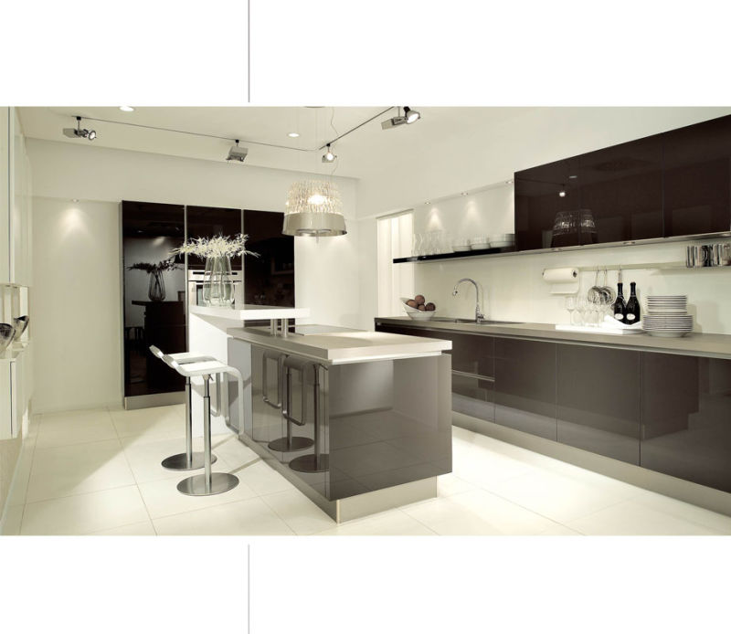 China zhihua cream color kitchen cabinet china kitchen for High gloss kitchen ideas