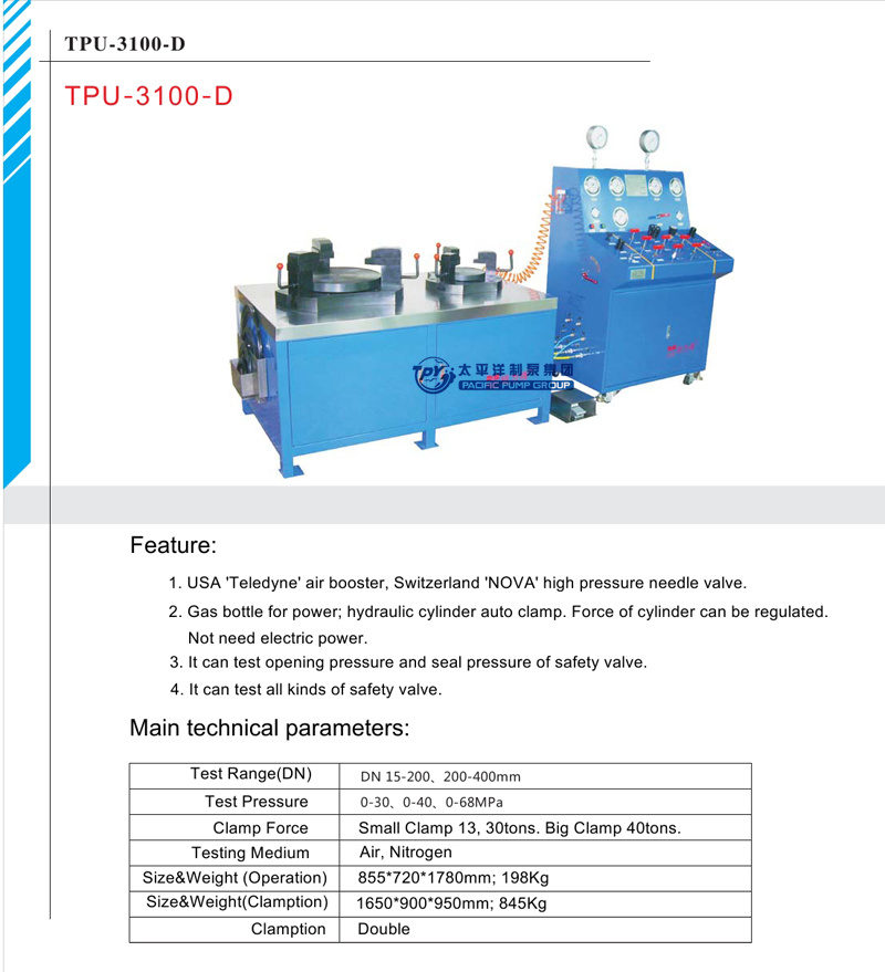 China Tpu3100 D Safety Relief Valve Test Bench China