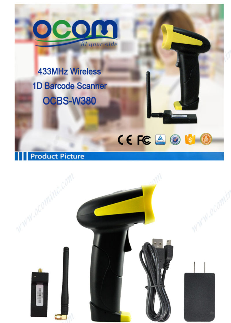 Long Distance RF433MHz Wireless Laser Barcode Scanner (OCBS-W380)