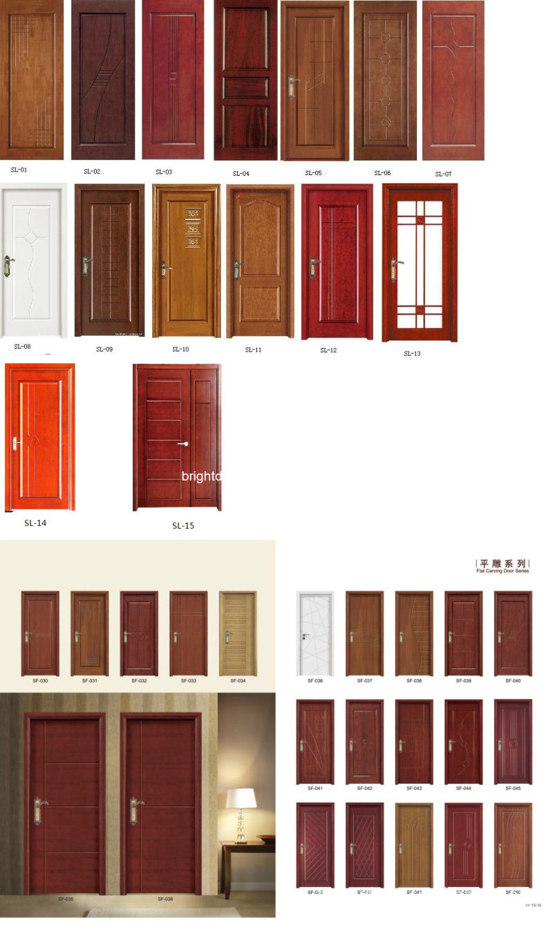 China simple exterior carved pine wood veneer main door for Simple main door design