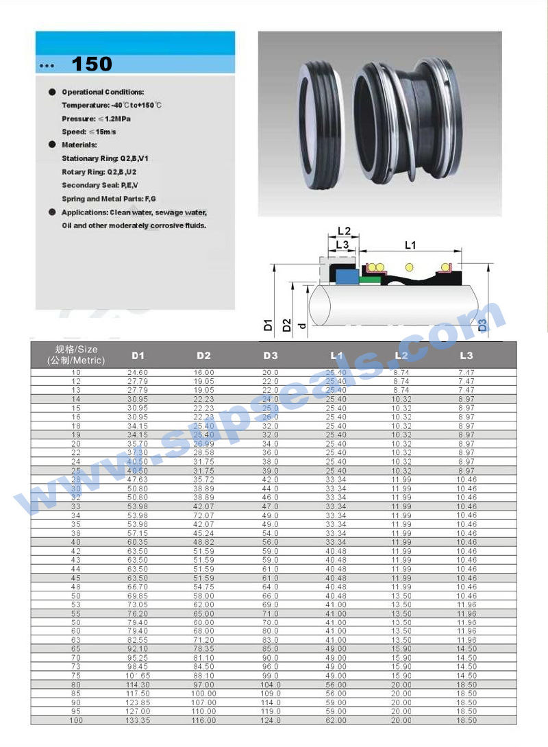 Elastomer Mechanical Seal Mg1s20 Seal Flowserve 150 Seal