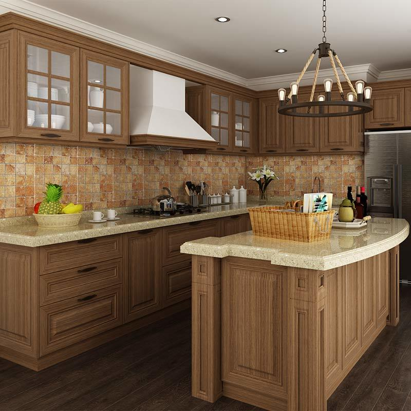 China oppein classic walnut pp project kitchen cabinets for Mobilia kitchen