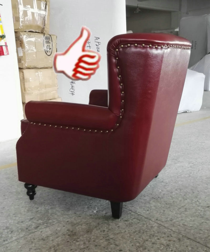 Red Color Club Chair, Cigar Bar Chair, Leather Chair (A888)