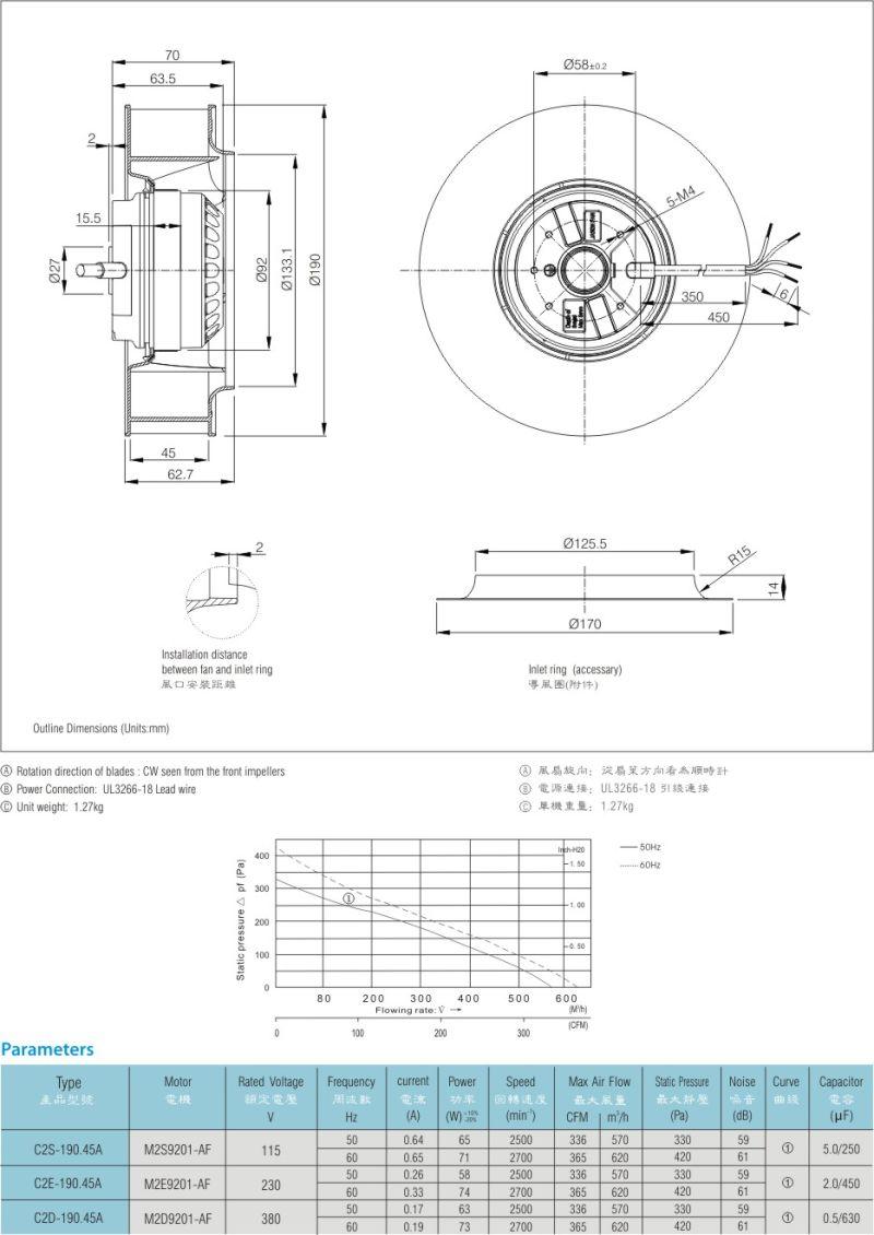 190mm Low Noise Centrifugal Fan Fjc2e-190.45A