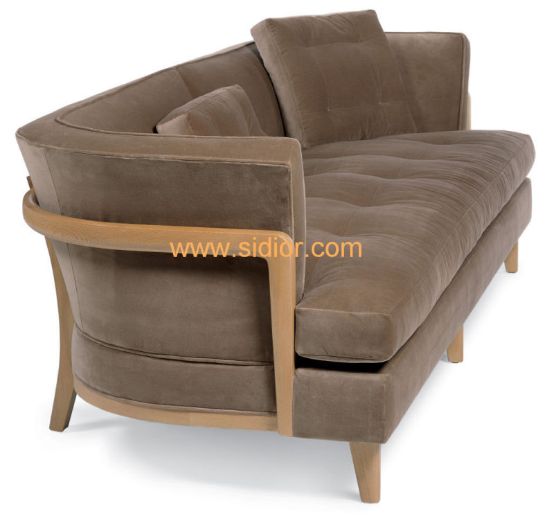 (CL-6623) Classic Hotel Restaurant Lobby Furniture Wooden Fabric Leather Sofa