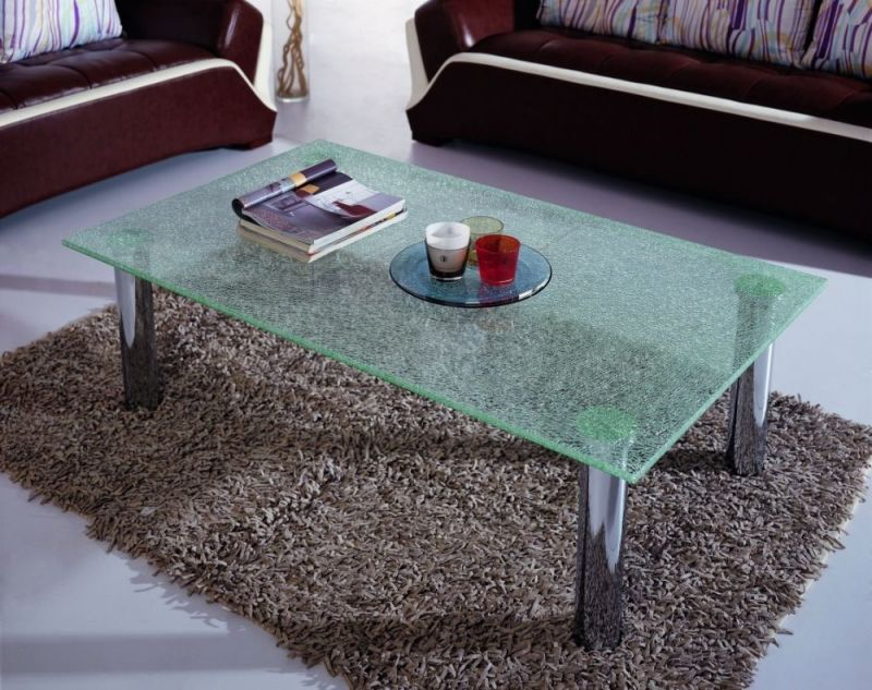America Popular Cracked Ice Laminated Glass Table Top, Decorative Broken  Glass Table Top For Home