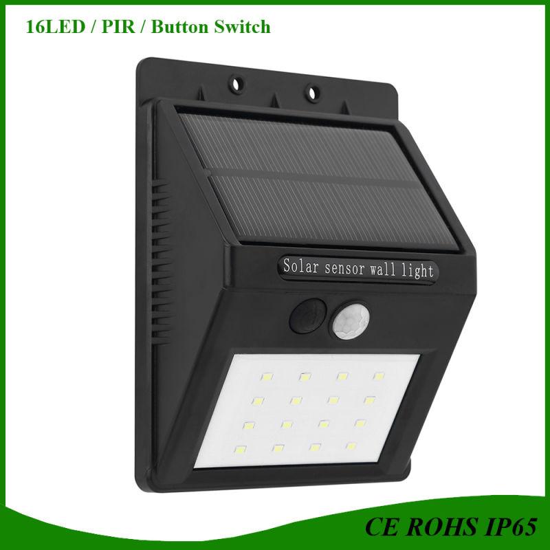 china update solar light ip65 pir motion sensor 16led solar