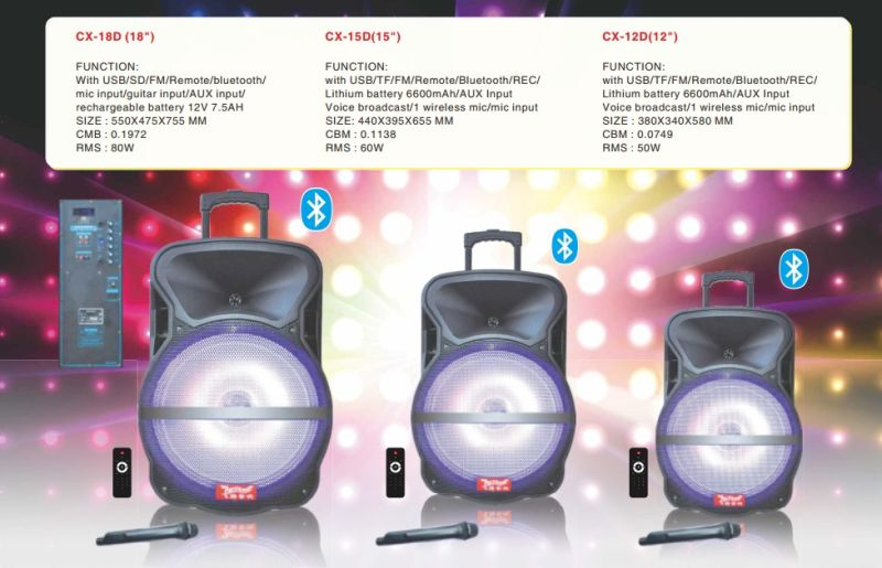 Feiyang/Temeisheng 18 Inch Powerful Portable Bluetooth Speaker/Subwoofer with Trolly Lihght--Cx-18d