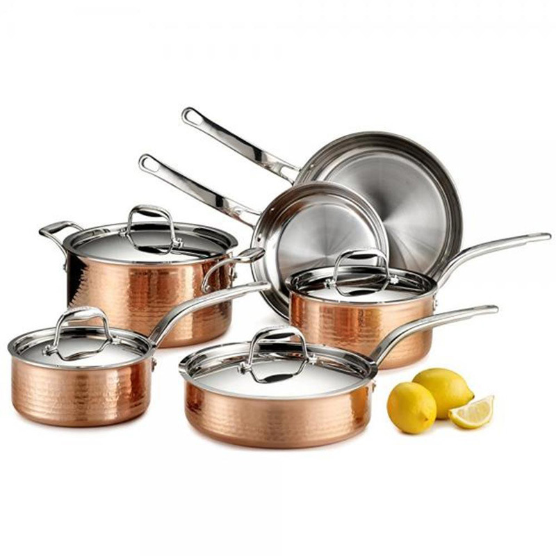 Tri-Ply Hammered Stainless Steel Copper Cookware Sets 10PC (CX-HSS010)