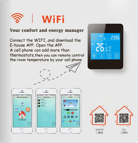 Electric Radiant Heating Wireless Thermostat with WiFi Remote Control