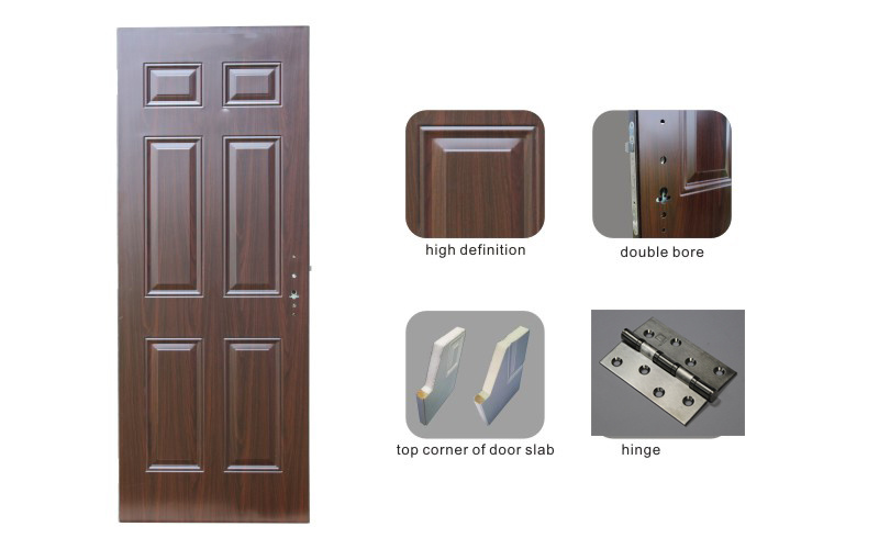 China Single Leaf Classic 6 Panel American Steel Exterior Door ...