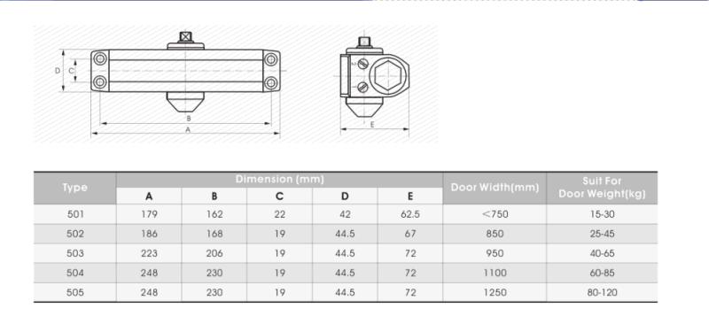 Adjustable Aluminium Door Closer (500 Series) for Fire-Proof Door&UL&Ce