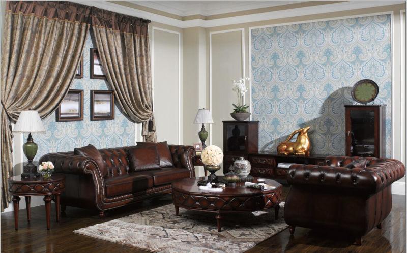 Sofá de Chesterfield do vintage da cor de Brown da qualidade ...