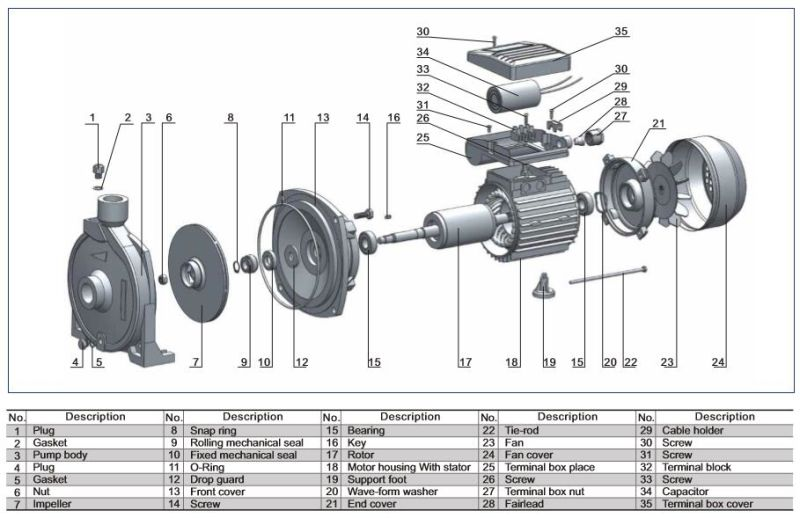 Dk 0.37kw/0.55HP for Electric Centrifugal Water Pump