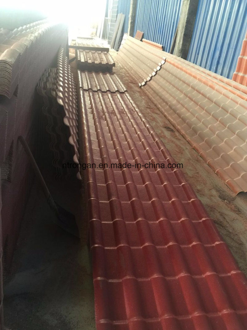 Unbreakable Waterproof Red Synthetic Resin PVC Roof Tile With ASA Coating