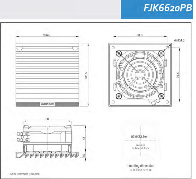 Panel Filter and Industrial Axial Fan for Ventilation (FJK6620PB)