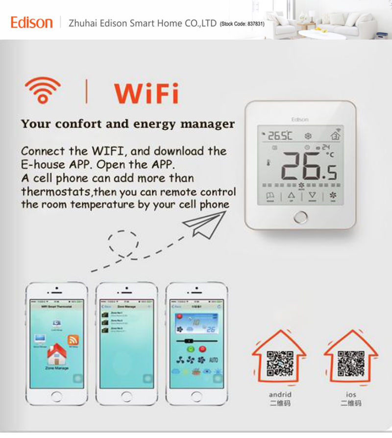 2017 New Smart Thermostat with WiFi Sensor Remote Control