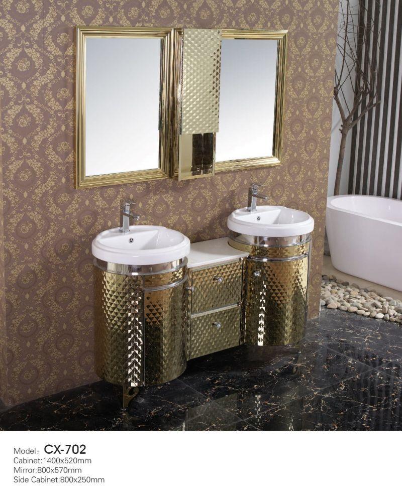 saudi arabic antique luxury stainless steel bathroom cabinet with wash basin