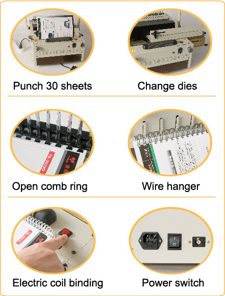 4-in-1 6918 Electrical Punching and Binding Machine for Comb, Wire 3: 1, Wire2: 1 and Coil