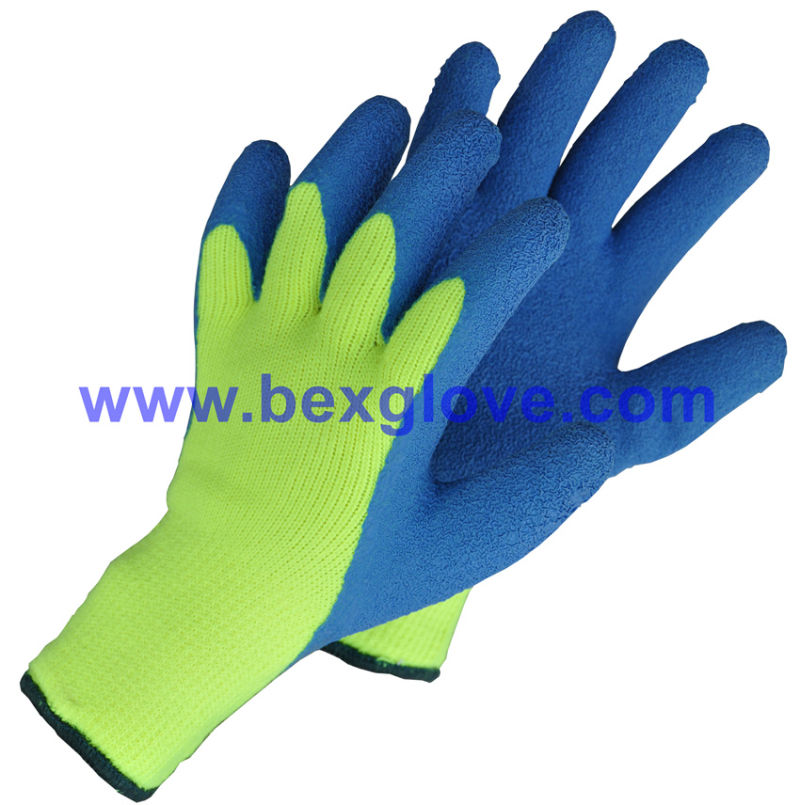 7 Gauge Acrylic Liner, Extra Thick Terry Knitted & Brushed, Latex Coating, Full Thumb Coating, Crinkle Finis